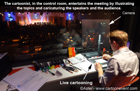Cartoonist Aster providing live cartoon animation  and caricatures on the spot