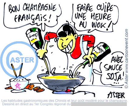 Illustration sur le vif - champagne en Chine
